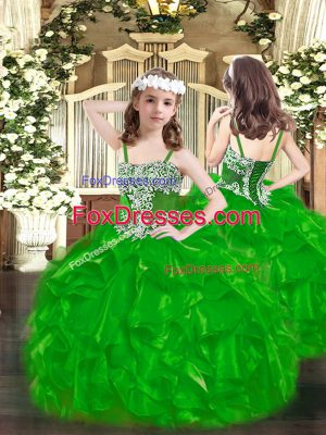 Sleeveless Organza Floor Length Lace Up Little Girls Pageant Gowns in Green with Appliques and Ruffles