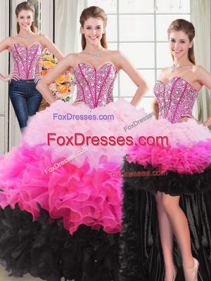 Multi-color Sweetheart Lace Up Beading and Ruffles Quinceanera Gowns Sleeveless