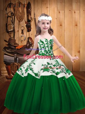 Floor Length Dark Green Pageant Gowns For Girls Straps Sleeveless Lace Up