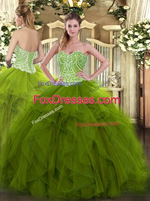 Unique Olive Green Sweetheart Neckline Beading and Ruffles Sweet 16 Quinceanera Dress Sleeveless Lace Up