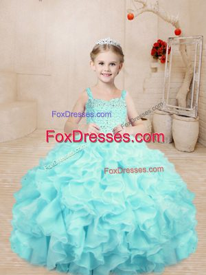 Aqua Blue Ball Gowns Organza Straps Sleeveless Beading and Ruffles Floor Length Lace Up Little Girl Pageant Gowns