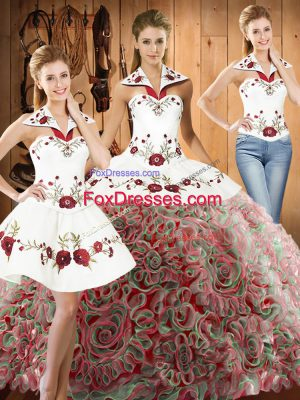 Sleeveless Fabric With Rolling Flowers Sweep Train Lace Up 15th Birthday Dress in Multi-color with Embroidery
