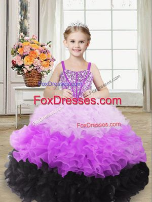 Multi-color Ball Gowns Organza Straps Sleeveless Beading and Ruffles Floor Length Lace Up Custom Made Pageant Dress