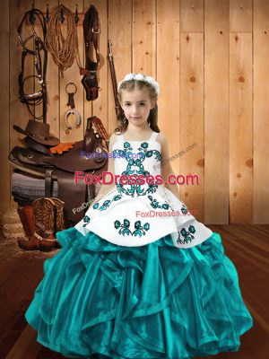 Ball Gowns Little Girl Pageant Gowns Teal Straps Organza Sleeveless Floor Length Lace Up