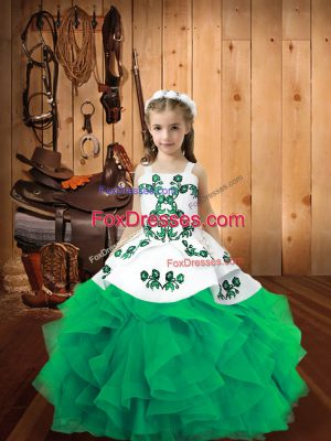 Affordable Floor Length Turquoise High School Pageant Dress Organza Sleeveless Embroidery and Ruffles