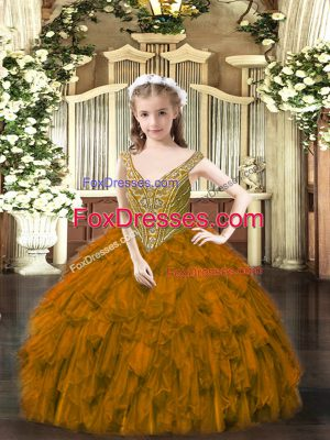 Brown Ball Gowns Organza V-neck Sleeveless Beading and Ruffles Floor Length Lace Up Pageant Dress Toddler