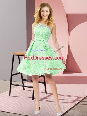 Affordable A-line Wedding Party Dress Scoop Lace Sleeveless Knee Length Zipper