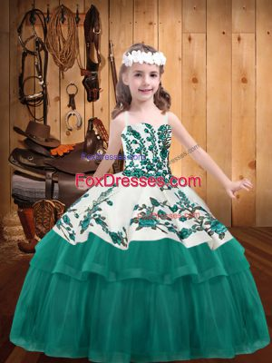 Classical Lace Up Pageant Dress for Womens Turquoise for Party and Sweet 16 and Quinceanera and Wedding Party with Embroidery