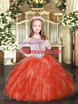 Beautiful Red Scoop Neckline Beading and Ruffles Little Girls Pageant Dress Wholesale Sleeveless Zipper