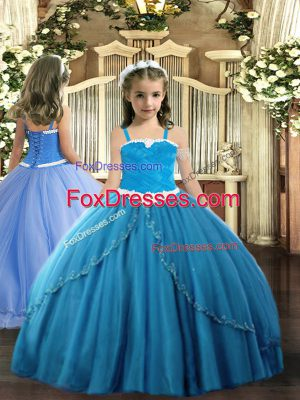 Straps Sleeveless Tulle Little Girls Pageant Dress Wholesale Appliques Sweep Train Lace Up