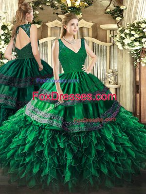 Dark Green V-neck Zipper Beading and Ruffles Quince Ball Gowns Sleeveless