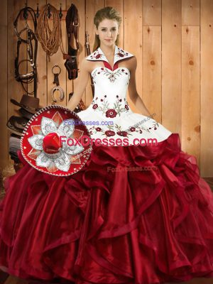 Glittering Floor Length Ball Gowns Sleeveless Wine Red Sweet 16 Quinceanera Dress Lace Up