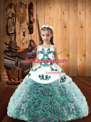 Modern Multi-color Fabric With Rolling Flowers Lace Up Straps Sleeveless Floor Length Glitz Pageant Dress Embroidery