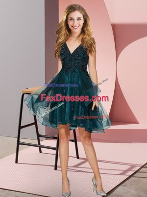 Customized Teal V-neck Neckline Appliques and Ruffles Bridesmaids Dress Sleeveless Backless