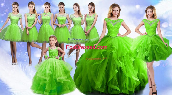 Wonderful Scoop Sleeveless Organza 15th Birthday Dress Beading and Ruffles Lace Up