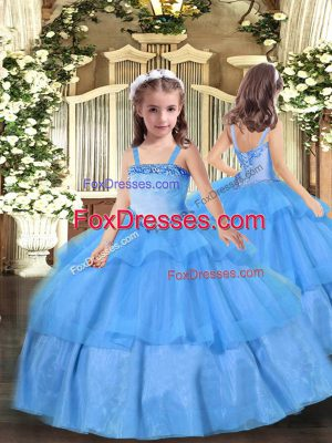 Baby Blue Sleeveless Floor Length Appliques Lace Up Little Girls Pageant Gowns