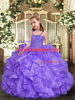 Ball Gowns Custom Made Pageant Dress Lavender Straps Organza Sleeveless Floor Length Lace Up