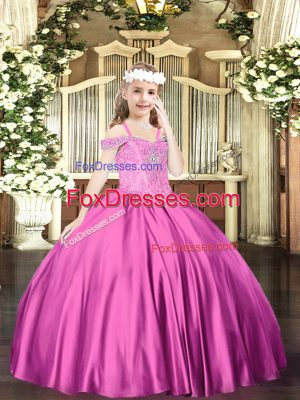 Top Selling Off The Shoulder Sleeveless Kids Formal Wear Floor Length Beading Fuchsia Satin
