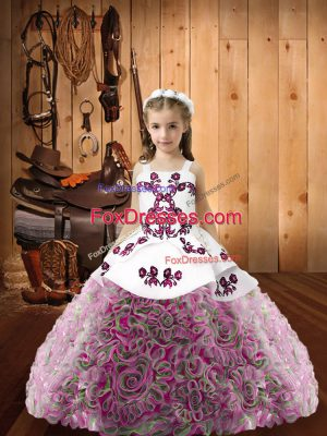 Customized Sleeveless Fabric With Rolling Flowers Floor Length Lace Up Kids Pageant Dress in Multi-color with Embroidery