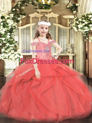 Coral Red Tulle Lace Up Little Girl Pageant Gowns Sleeveless Floor Length Beading and Ruffles