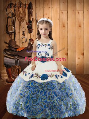 Excellent Multi-color Straps Lace Up Embroidery and Ruffles Kids Formal Wear Sleeveless