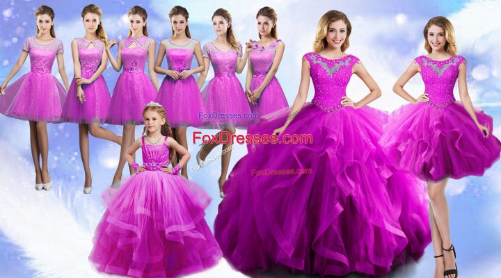 High Quality Fuchsia Organza Lace Up Scoop Sleeveless Floor Length Quince Ball Gowns Beading and Ruffles