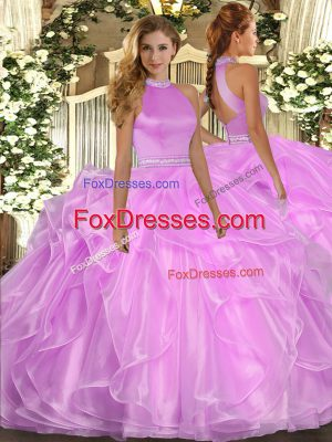Most Popular Halter Top Sleeveless Organza Quinceanera Gown Beading and Ruffles Backless
