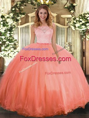 Luxury Orange Red Clasp Handle Quince Ball Gowns Lace Sleeveless Floor Length