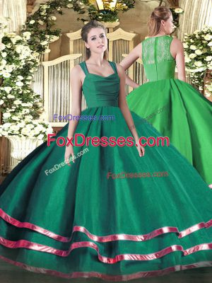 Decent Dark Green Straps Zipper Ruffled Layers and Ruching Quinceanera Dresses Sleeveless