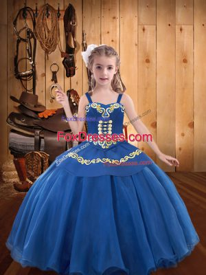 Blue Sleeveless Organza Lace Up Little Girls Pageant Dress for Party and Sweet 16 and Quinceanera and Wedding Party
