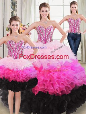 Sweetheart Sleeveless Lace Up Sweet 16 Dresses Multi-color Organza