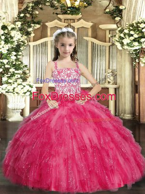 Popular Hot Pink Ball Gowns Organza Straps Sleeveless Beading and Ruffles Floor Length Lace Up Pageant Dress Toddler