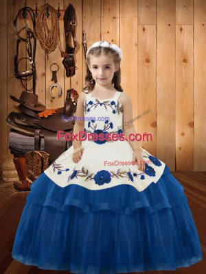 Blue Lace Up Glitz Pageant Dress Embroidery and Ruffled Layers Sleeveless Floor Length