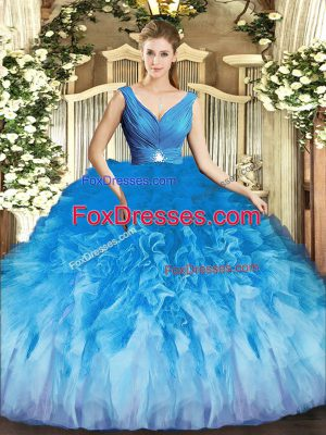 Multi-color Ball Gowns Tulle V-neck Sleeveless Beading and Ruffles Floor Length Backless Quinceanera Gown
