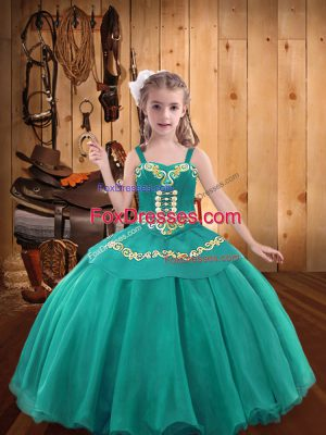 Eye-catching Teal Sleeveless Organza Lace Up Little Girl Pageant Gowns for Party and Sweet 16 and Quinceanera and Wedding Party