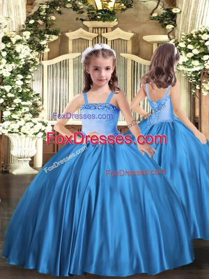 Floor Length Ball Gowns Sleeveless Baby Blue Kids Pageant Dress Lace Up