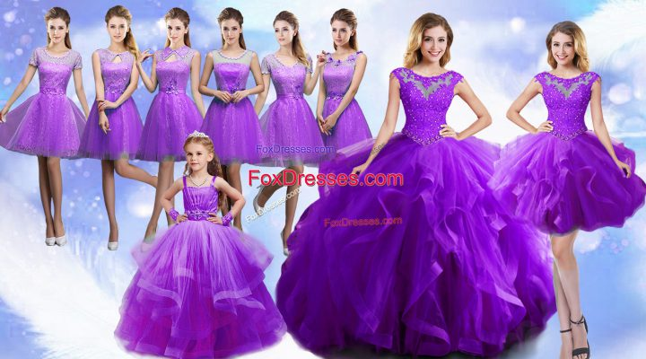 Best Eggplant Purple Sleeveless Organza Lace Up Ball Gown Prom Dress for Military Ball and Sweet 16 and Quinceanera