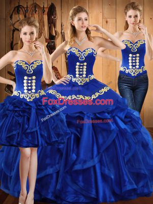 New Style Floor Length Lace Up Sweet 16 Dresses Royal Blue for Military Ball and Sweet 16 and Quinceanera with Embroidery and Ruffles