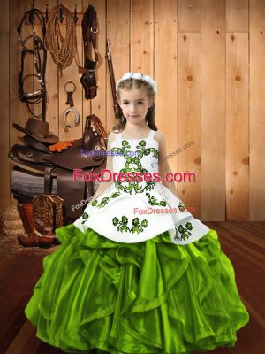 Embroidery and Ruffles Child Pageant Dress Lace Up Sleeveless Floor Length