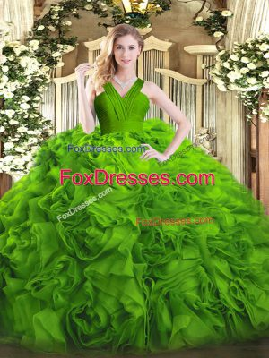 Great Fabric With Rolling Flowers Zipper Quinceanera Gowns Sleeveless Floor Length Ruffles