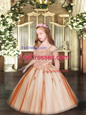 Rust Red Ball Gowns Spaghetti Straps Sleeveless Tulle Floor Length Lace Up Appliques Pageant Dress for Womens
