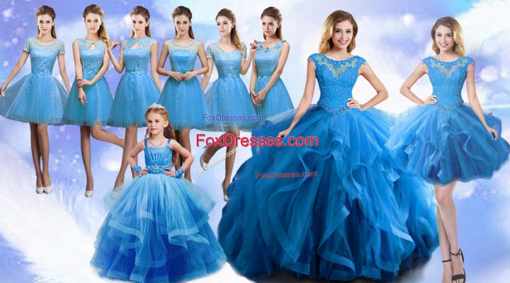 Dramatic Floor Length Baby Blue Quince Ball Gowns Organza Sleeveless Beading and Ruffles
