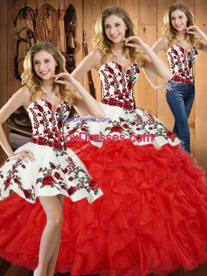 Unique Floor Length Lace Up Sweet 16 Dress Red for Military Ball and Sweet 16 and Quinceanera with Embroidery and Ruffles