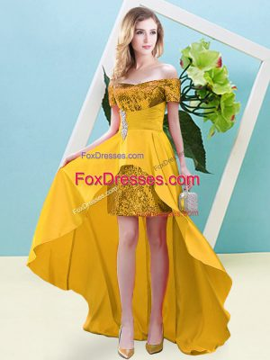 Captivating Short Sleeves Elastic Woven Satin and Sequined High Low Lace Up Dress for Prom in Gold with Beading