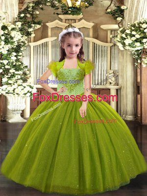 Dazzling Olive Green Straps Lace Up Beading Pageant Dresses Sleeveless
