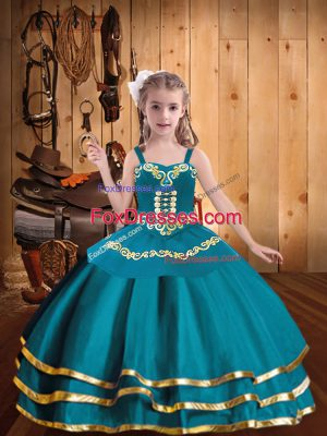 Ball Gowns Pageant Gowns For Girls Teal Straps Organza Sleeveless Floor Length Lace Up