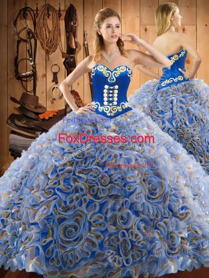 New Style Brush Train Ball Gowns Quinceanera Dress Multi-color Sweetheart Satin and Fabric With Rolling Flowers Sleeveless Lace Up
