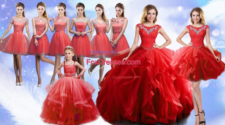 Elegant Scoop Sleeveless Organza Quinceanera Dress Beading and Ruffles Lace Up