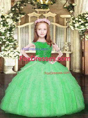 Apple Green Organza Zipper Little Girl Pageant Gowns Sleeveless Floor Length Beading and Ruffles