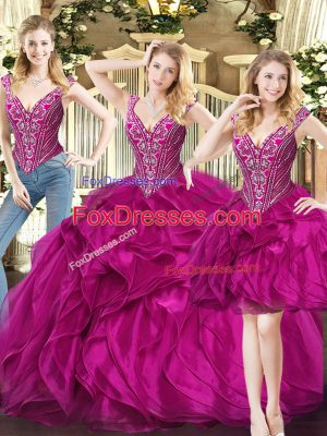 Fuchsia Sweet 16 Dresses Military Ball and Sweet 16 and Quinceanera with Ruffles V-neck Sleeveless Lace Up